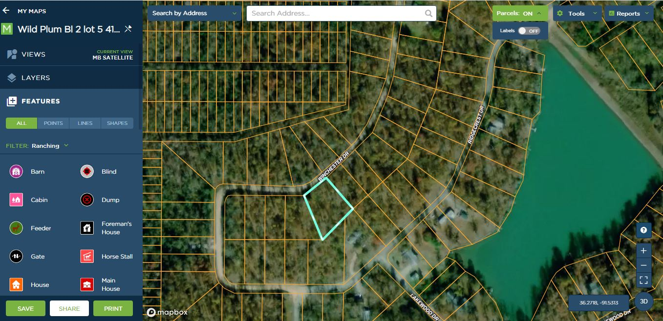 Paved-Winchester Drive-1/2 acre Highland, Ar Sharp County for residential or modular home- utilities on street